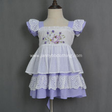 Wholesale lovely hand embroidery swiss dots girl dress